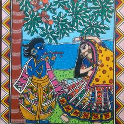spring colors with radha-krishna, 14 x 16 inch, akanksha sinha,14x16inch,canvas,paintings,folk art paintings,religious paintings,radha krishna paintings,love paintings,madhubani paintings | madhubani art,paintings for living room,paintings for bedroom,paintings for kids room,paintings for hotel,paintings for school,paintings for hospital,acrylic color,pen color,GAL01104131012
