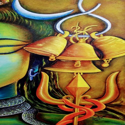 omkara, 14 x 27 inch, susmita mandal,14x27inch,canvas,paintings,lord shiva paintings,paintings for living room,paintings for bedroom,acrylic color,GAL01940531014