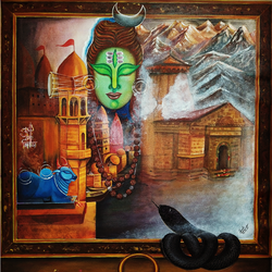 divine journey, 32 x 40 inch, susmita mandal,32x40inch,canvas,paintings,lord shiva paintings,paintings for living room,acrylic color,GAL01940531015