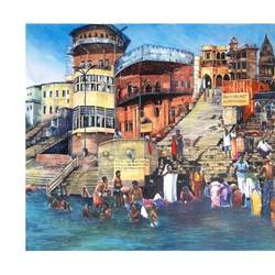 punnya snan at benaras ghat , 30 x 24 inch, saikat santra,30x24inch,handmade paper,paintings,figurative paintings,realism paintings,paintings for dining room,paintings for living room,paintings for office,paintings for hotel,paintings for hospital,pastel color,pencil color,watercolor,GAL01938331019