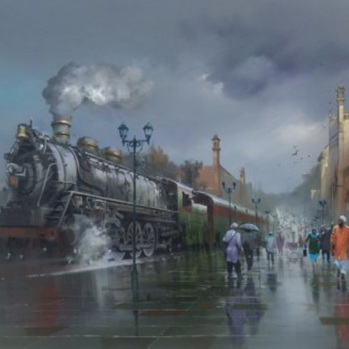 wet platform lucknow, 48 x 36 inch, bijay  biswaal,cityscape paintings,paintings for living room,paintings for office,canvas,acrylic color,48x36inch,GAL011743102
