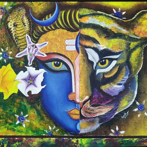 rudravtar, 32 x 48 inch, susmita mandal,32x48inch,canvas board,paintings,lord shiva paintings,paintings for living room,acrylic color,GAL01940531021