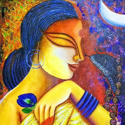 messengers, 15 x 33 inch, susmita mandal,15x33inch,canvas,paintings,love paintings,paintings for living room,acrylic color,GAL01940531022
