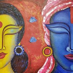 radha-mohan, 15 x 31 inch, susmita mandal,15x31inch,canvas,paintings,radha krishna paintings,paintings for living room,paintings for living room,acrylic color,GAL01940531026