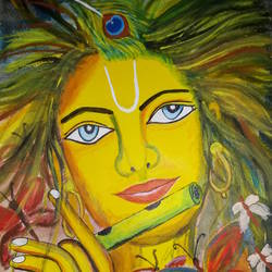 krishna, 9 x 13 inch, meera sandeep,9x13inch,thick paper,paintings,figurative paintings,paintings for living room,acrylic color,GAL01869231028