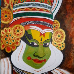 kathakali, 9 x 13 inch, meera sandeep,9x13inch,thick paper,paintings,folk art paintings,paintings for dining room,paintings for living room,paintings for office,acrylic color,GAL01869231029
