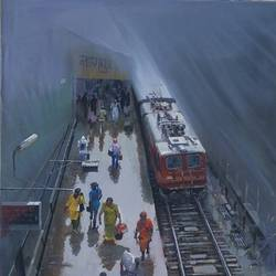 wet platform nagpur, 36 x 60 inch, bijay  biswaal,cityscape paintings,paintings for living room,paintings for office,canvas,acrylic color,36x60inch,GAL011743103