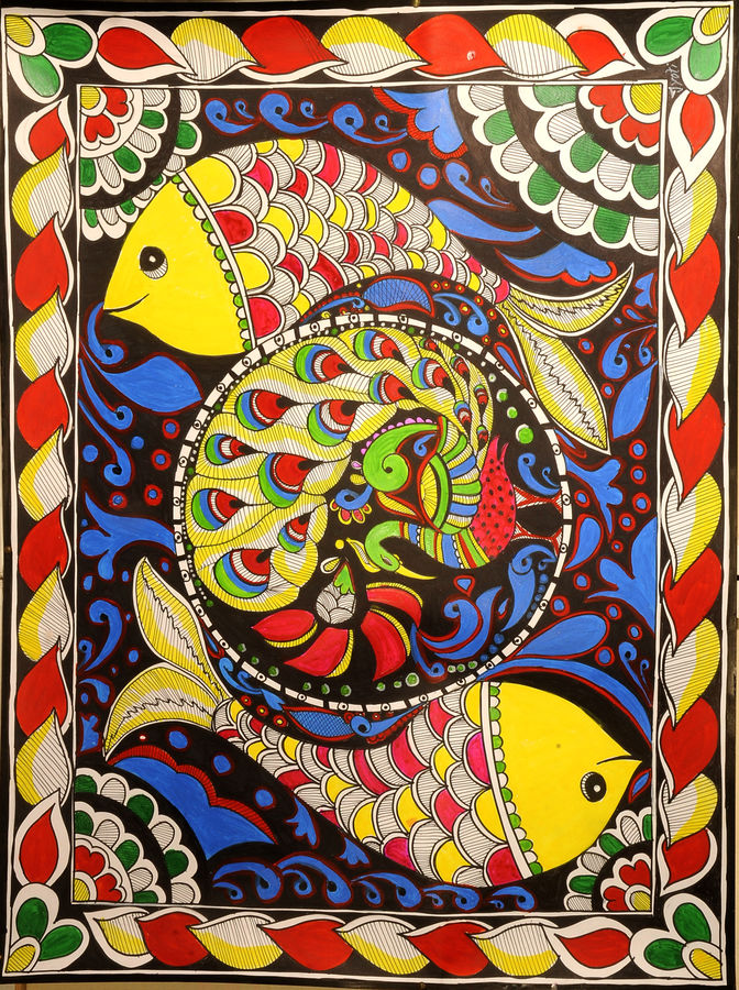 fishes with peacock, 24 x 36 inch, jyoti kumar,24x36inch,thick paper,paintings,madhubani paintings | madhubani art,paintings for dining room,paintings for living room,paintings for hotel,acrylic color,GAL01881031031