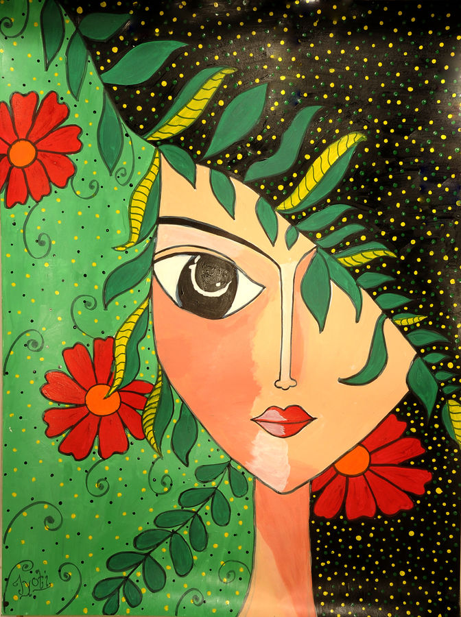 nature woman, 24 x 36 inch, jyoti kumar,24x36inch,thick paper,paintings,figurative paintings,paintings for dining room,paintings for living room,paintings for bedroom,paintings for office,paintings for hotel,acrylic color,GAL01881031032