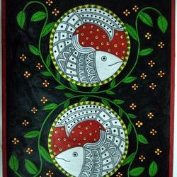 madhubani painting fish in circles, 11 x 13 inch, geeta kwatra,11x13inch,drawing paper,paintings,madhubani paintings | madhubani art,paintings for living room,paintings for hotel,acrylic color,mixed media,GAL0899131034
