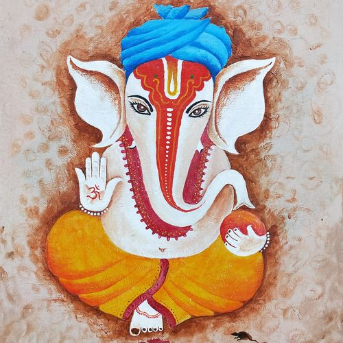 the lord ganesha, 16 x 20 inch, srinu badri,16x20inch,canvas,paintings,modern art paintings,religious paintings,portrait paintings,ganesha paintings | lord ganesh paintings,paintings for dining room,paintings for living room,paintings for office,paintings for hotel,paintings for hospital,acrylic color,GAL01289931036