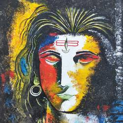 abstract lord shiva, 14 x 18 inch, srinu badri,14x18inch,canvas,paintings,abstract paintings,modern art paintings,religious paintings,paintings for living room,paintings for office,paintings for hotel,paintings for hospital,acrylic color,GAL01289931037