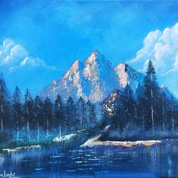 blue lake mountains, 14 x 18 inch, srinu badri,14x18inch,canvas,paintings,wildlife paintings,landscape paintings,modern art paintings,paintings for dining room,paintings for living room,paintings for office,paintings for hospital,acrylic color,GAL01289931038