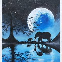reflecting blue moon, 14 x 18 inch, srinu badri,14x18inch,canvas,paintings,modern art paintings,nature paintings | scenery paintings,elephant paintings,paintings for living room,paintings for bedroom,paintings for office,paintings for kids room,acrylic color,GAL01289931039