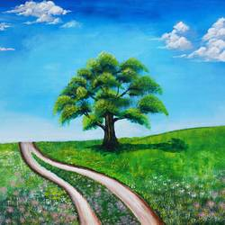 landscape alone tree, 34 x 24 inch, srinu badri,34x24inch,canvas,paintings,landscape paintings,modern art paintings,nature paintings | scenery paintings,realistic paintings,paintings for dining room,paintings for living room,paintings for bedroom,paintings for office,paintings for hotel,paintings for hospital,acrylic color,GAL01289931040