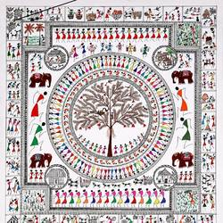 ancient warli arts  eccentrically on handmade paper, 20 x 21 inch, harpreet kaur punn,20x21inch,handmade paper,paintings,figurative paintings,warli paintings,paintings for dining room,paintings for living room,paintings for office,paintings for hotel,paintings for school,paintings for hospital,acrylic color,paper,GAL0599731042