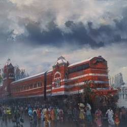 wet platform chennai, 84 x 48 inch, bijay  biswaal,cityscape paintings,paintings for living room,paintings for office,canvas,acrylic color,84x48inch,GAL011743105
