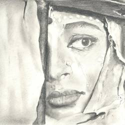 bride in the palki, 12 x 10 inch, santanu sen,12x10inch,paper,drawings,portrait drawings,paintings for living room,paintings for bedroom,paintings for office,paintings for hotel,graphite pencil,GAL0193931056