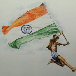 with indian national flag, 14 x 12 inch, santanu sen,14x12inch,paper,paintings,figurative paintings,paintings for dining room,paintings for living room,paintings for bedroom,paintings for office,paintings for kids room,paintings for hotel,paintings for school,paintings for hospital,pastel color,GAL0193931061