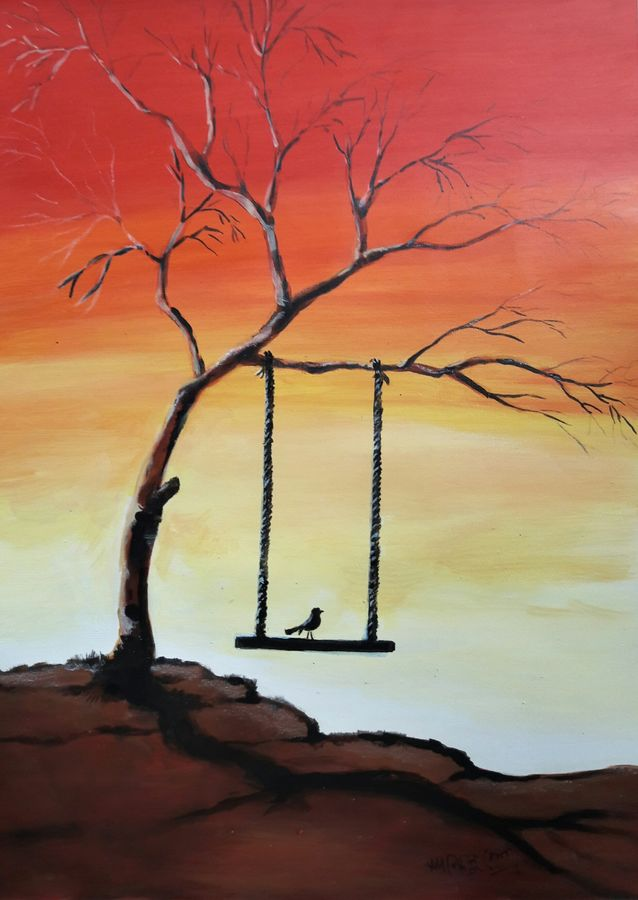 alone- acrylic painting on paper (framed), 14 x 18 inch, santanu sen,14x18inch,arches paper,paintings,conceptual paintings,nature paintings   scenery paintings,paintings for dining room,paintings for living room,paintings for bedroom,paintings for office,paintings for kids room,paintings for hotel,paintings for school,paintings for hospital,acrylic color,GAL0193931062