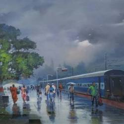 wide wet platform ii, 60 x 36 inch, bijay  biswaal,cityscape paintings,paintings for living room,paintings for office,canvas,acrylic color,60x36inch,GAL011743107