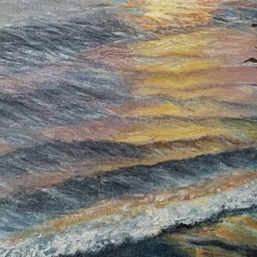 sunset and the sea, 16 x 22 inch, manjusha gupte,16x22inch,canvas,paintings,nature paintings | scenery paintings,paintings for dining room,paintings for living room,paintings for bedroom,paintings for office,paintings for bathroom,paintings for kids room,paintings for hotel,paintings for kitchen,paintings for school,paintings for hospital,oil color,GAL01942931072