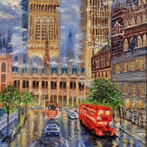 charming london , 12 x 16 inch, manjusha gupte,12x16inch,canvas,paintings,cityscape paintings,paintings for dining room,paintings for living room,paintings for bedroom,paintings for office,paintings for bathroom,paintings for kids room,paintings for hotel,paintings for kitchen,paintings for school,paintings for hospital,oil color,GAL01942931073