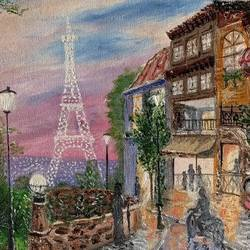 an evening in paris , 12 x 16 inch, manjusha gupte,12x16inch,canvas,paintings,cityscape paintings,paintings for dining room,paintings for living room,paintings for bedroom,paintings for office,paintings for bathroom,paintings for kids room,paintings for hotel,paintings for kitchen,paintings for school,paintings for hospital,oil color,GAL01942931074