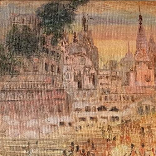 the holy banaras, 16 x 12 inch, manjusha gupte,16x12inch,canvas,paintings,cityscape paintings,paintings for dining room,paintings for living room,paintings for bedroom,paintings for office,paintings for bathroom,paintings for kids room,paintings for hotel,paintings for kitchen,paintings for school,paintings for hospital,oil color,GAL01942931075
