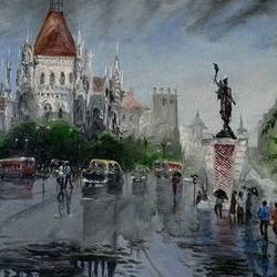 mumbai monsoon , 16 x 12 inch, manjusha gupte,16x12inch,canvas,paintings,cityscape paintings,paintings for dining room,paintings for living room,paintings for bedroom,paintings for office,paintings for bathroom,paintings for kids room,paintings for hotel,paintings for kitchen,paintings for school,paintings for hospital,oil color,GAL01942931076