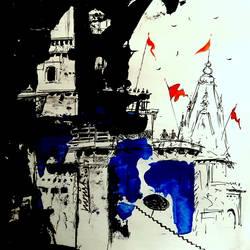 banaras , 10 x 8 inch, girish chandra vidyaratna,paintings for bedroom,drawings,abstract drawings,paper,mixed media,10x8inch,GAL0363108