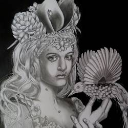 a girl with bird, 22 x 30 inch, shiuli majumder,22x30inch,cartridge paper,drawings,abstract drawings,charcoal,GAL01355231085