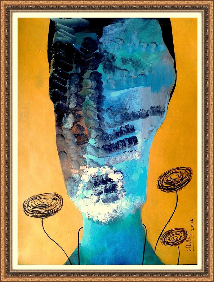 abstract face, 14 x 14 inch, girish chandra vidyaratna,abstract paintings,paintings for living room,paintings,ivory sheet,acrylic color,14x14inch,GAL0363109