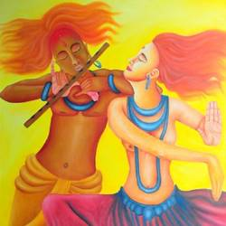 dancing on the tunes, 36 x 48 inch, deepali  sharma,36x48inch,canvas,paintings,radha krishna paintings,oil color,GAL01930731090