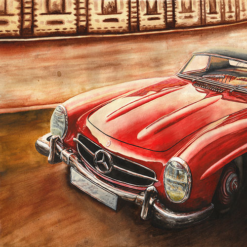 mercedes benz 300sl, 30 x 23 inch, samit kamar,30x23inch,handmade paper,paintings,cityscape paintings,paintings for living room,paintings for office,watercolor,GAL0443431095