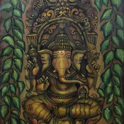 lord ganapathy, 23 x 31 inch, akila devi,23x31inch,canvas,paintings,abstract paintings,religious paintings,ganesha paintings | lord ganesh paintings,paintings for dining room,paintings for living room,paintings for office,paintings for kids room,paintings for hotel,paintings for kitchen,paintings for school,paintings for hospital,acrylic color,GAL01944831102