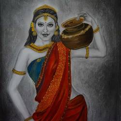lady with pot, 16 x 23 inch, akila devi,16x23inch,thick paper,paintings,portrait paintings,realism paintings,contemporary paintings,paintings for dining room,paintings for living room,paintings for bedroom,paintings for office,paintings for bathroom,paintings for hotel,paintings for kitchen,paintings for dining room,paintings for living room,paintings for bedroom,paintings for office,paintings for bathroom,paintings for hotel,paintings for kitchen,acrylic color,charcoal,paper,GAL01944831106