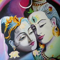 shiv-parvati portrait- love, 24 x 16 inch, priyanka dubey  tiwari,religious paintings,paintings for living room,canvas,oil,24x16inch,GAL012073111