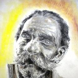 a old age beggar , 12 x 16 inch, saikat santra,12x16inch,paper,drawings,figurative drawings,paintings for living room,pastel color,pencil color,GAL01938331112