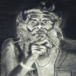 sadhu., 32 x 24 inch, sarika  chamnikar,32x24inch,thick paper,paintings,portrait paintings,charcoal,GAL01940931117