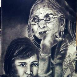 grandma and granddaughter, 32 x 24 inch, sarika  chamnikar,32x24inch,thick paper,paintings,portrait paintings,charcoal,GAL01940931118