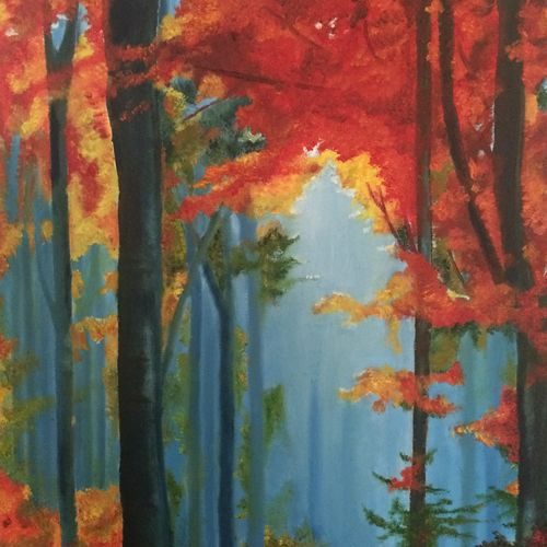 autumn colours, 14 x 18 inch, akila devi,14x18inch,canvas,paintings,landscape paintings,paintings for dining room,paintings for living room,paintings for bedroom,paintings for office,paintings for bathroom,paintings for kids room,paintings for hotel,paintings for kitchen,paintings for school,paintings for hospital,acrylic color,oil color,GAL01944831126