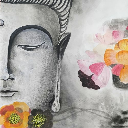 dhyana buddha, 12 x 17 inch, pritam shaw,12x17inch,thick paper,paintings,buddha paintings,paintings for dining room,paintings for living room,paintings for bedroom,paintings for office,paintings for hotel,paintings for school,paintings for hospital,acrylic color,paper,GAL0141031127