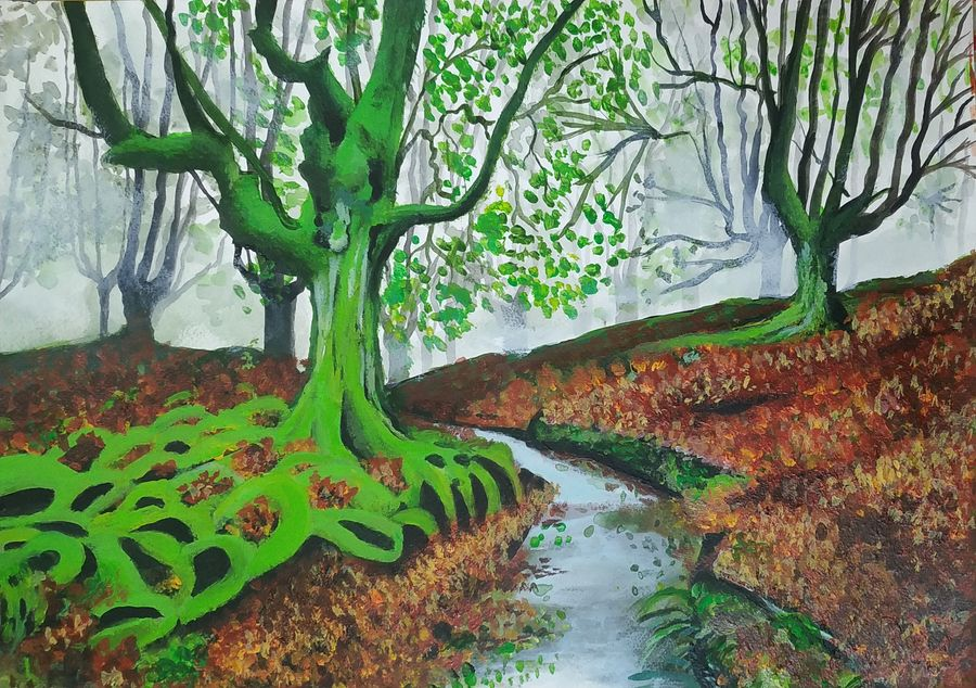 the mystic forest , 12 x 17 inch, pritam shaw,12x17inch,thick paper,paintings,landscape paintings,nature paintings | scenery paintings,paintings for dining room,paintings for living room,paintings for bedroom,paintings for office,paintings for bathroom,paintings for kids room,paintings for hotel,paintings for kitchen,paintings for school,paintings for hospital,acrylic color,GAL0141031128