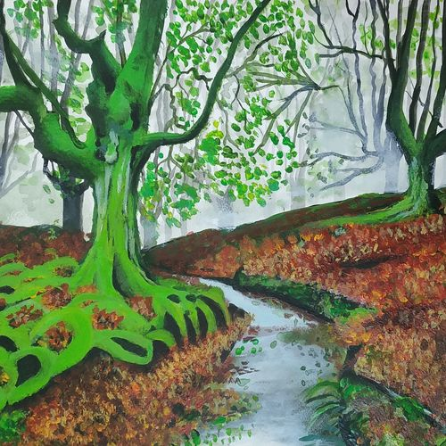 the mystic forest , 12 x 17 inch, pritam shaw,12x17inch,thick paper,paintings,landscape paintings,nature paintings   scenery paintings,paintings for dining room,paintings for living room,paintings for bedroom,paintings for office,paintings for bathroom,paintings for kids room,paintings for hotel,paintings for kitchen,paintings for school,paintings for hospital,acrylic color,GAL0141031128