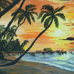 beautiful sunny beach, 12 x 17 inch, pritam shaw,12x17inch,thick paper,paintings,landscape paintings,nature paintings | scenery paintings,paintings for dining room,paintings for living room,paintings for bedroom,paintings for office,paintings for bathroom,paintings for kids room,paintings for hotel,paintings for kitchen,paintings for school,paintings for hospital,acrylic color,GAL0141031129