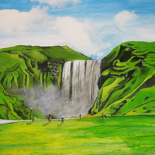 happy waterfall park, 12 x 17 inch, pritam shaw,12x17inch,thick paper,landscape paintings,nature paintings | scenery paintings,water fountain paintings,paintings for dining room,paintings for living room,paintings for bedroom,paintings for office,paintings for bathroom,paintings for kids room,paintings for hotel,paintings for kitchen,paintings for school,paintings for hospital,paintings for dining room,paintings for living room,paintings for bedroom,paintings for office,paintings for bathroom,paintings for kids room,paintings for hotel,paintings for kitchen,paintings for school,paintings for hospital,acrylic color,GAL0141031130