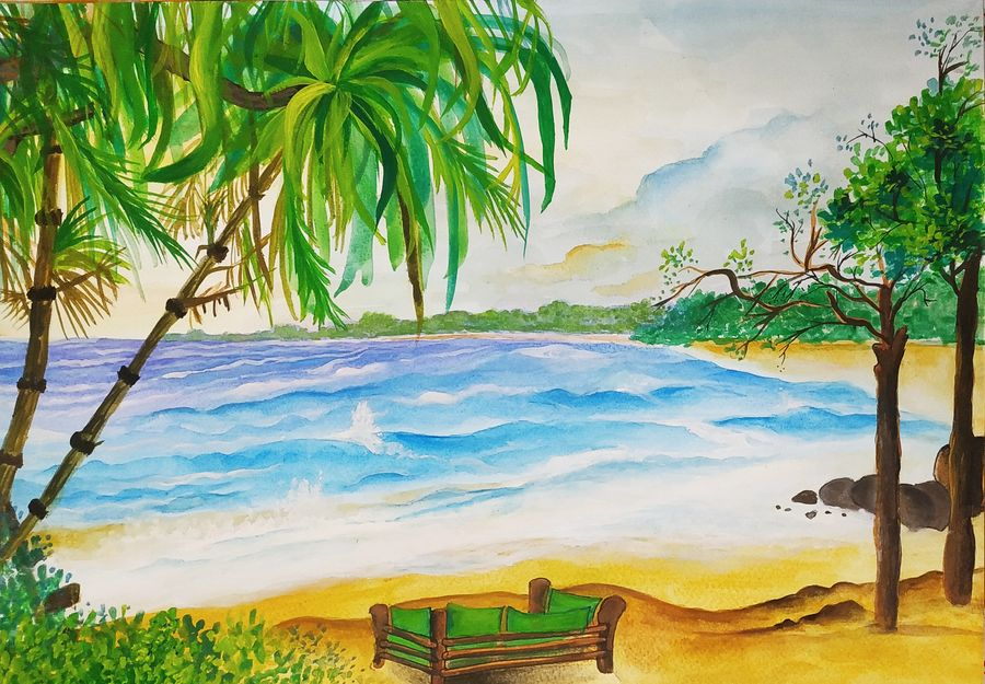 the blue beach, 12 x 17 inch, pritam shaw,12x17inch,thick paper,paintings,cityscape paintings,landscape paintings,modern art paintings,nature paintings | scenery paintings,illustration paintings,paintings for dining room,paintings for living room,paintings for bedroom,paintings for office,paintings for bathroom,paintings for kids room,paintings for hotel,paintings for kitchen,paintings for school,paintings for hospital,acrylic color,GAL0141031133