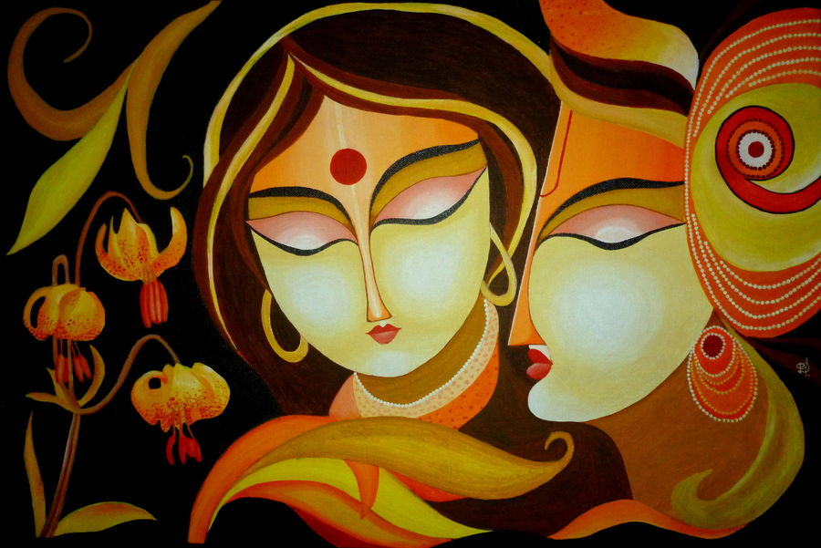 warm elegance- love, 24 x 16 inch, priyanka dubey  tiwari,figurative paintings,paintings for bedroom,paintings for dining room,paintings for living room,paintings for office,paintings for hospital,canvas board,acrylic color,24x16inch,GAL012073115