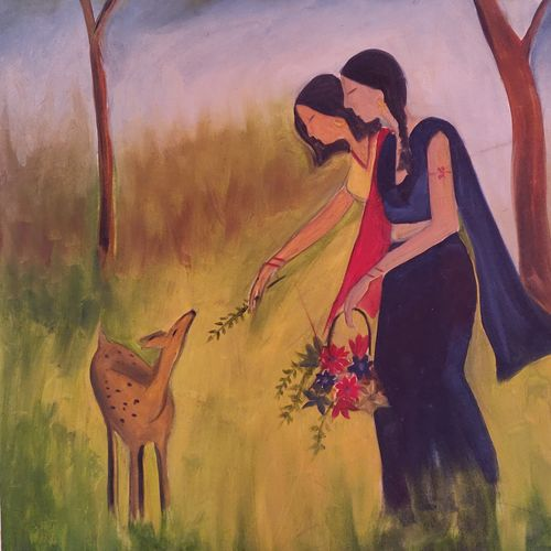 mutual love, 18 x 30 inch, vaishali solanki,18x30inch,oil sheet,paintings,wildlife paintings,nature paintings | scenery paintings,paintings for dining room,paintings for living room,paintings for bedroom,paintings for office,paintings for kids room,paintings for hotel,oil color,GAL01946931164